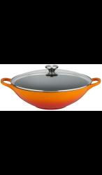 Le Creuset Gietijzeren wok met glazen deksel