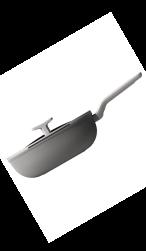 Aluminium Berghoff LEO wokpan met deksel van glas en kunststof